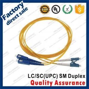 Buy cheap lc-sc/upc SM optic fiber patch cords for structure cabling BLUE connectors Duplex yellow pvc sheath jacket product