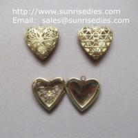 Buy cheap Filigree copper heart photo lockets wholesale, fillagree brass heart locket product