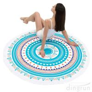 China Round Beach Towel Beach Blanket Large Microfiber Towels Yoga Mat Multi Purpose on sale