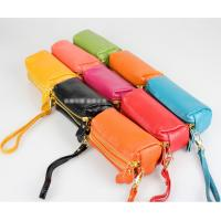 China 091104 Double Zipper Leather bag Phone Pouch Genuine Leather Wallet Coin Wallet in different colors on sale