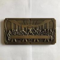 Buy cheap DN01 coffin hardware Casket decoration metal last supper nameplate from wholesalers