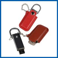 China Red / Black Keychain Cell Phone Accessory Brown Leather 32GB USB Flash Drive on sale