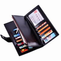 Buy cheap Oil Wax Leather Black Clutch Bag With Multi Card Position , Thin Long Trifold Womens Wallet product