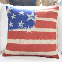 luxury washable Linen Throw Pillows America national flag printed of customtextileprinting