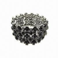 Buy cheap Metal Alloy Bracelet with Black Glass Stone  product