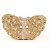 Custom Ladies Butterfly Shape Gold Evening Bag , Wedding Diamond Evening Clutch Bags