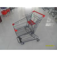 Buy cheap Grey Powder Coating 80L Supermarket Shopping Carts With 4 Inch PU Casters product