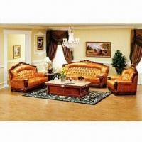 China Antique Sofas with Solid Wood and Real Leather and Natural Marble Decoration (1+2+3) on sale