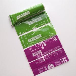 China Waterproof Printed Shrink Wrap Bottle Labels PVC/PET For Snack Food Vegus Juices on sale