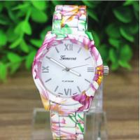 Buy cheap Lady Dress Relogio Flower Printing Geneva Quartz Watch For Business , Party , Sport product
