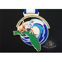 Buy cheap Customized Taekwondo Or wrestling Metal Award Medals with Sublimated Ribbon product