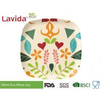 Colorful garden flower and leaf style Disposable Environmentally friendly Bamboo Fibre Square Dinning dish 10 inch 24cm