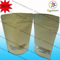 Buy cheap Stand Up Ziplock Brown Kraft Customized Paper Bags With Window For Snack Packaging product