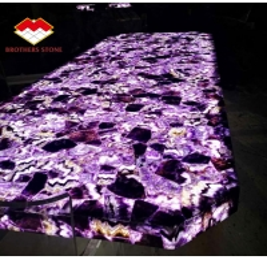 Buy cheap Semi Precious Stone Marble Furniture Amethyst Slab For Sink Basin product