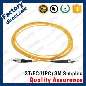 Buy cheap st-fc/upc optic fiber patch cords sm g652d simplex black metal connector yellow pvc lszh sheath jacket product