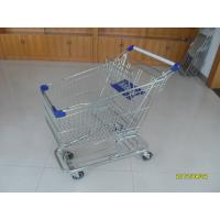Buy cheap 100L Low Tray Supermarket Shopping Trolley European Steel With Blue Baby Seat product