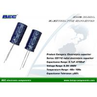 Buy cheap CD112 Aluminum Radial Electrolytic Capacitors for Industrial Measuring Instruments 0.1μF - 4700μF, 40℃ - 105℃ product