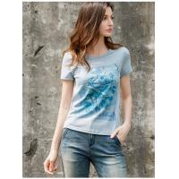 Buy cheap 2019 Women's Fashion New Latest Design Short Sleeve T Shirt with Emboridery product