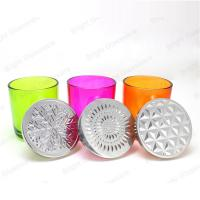 Buy cheap custom colorful glass candle holder with metal lid product
