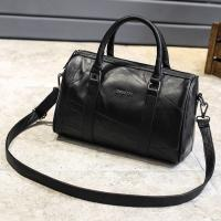 Buy cheap Black Cross Body Real Soft Leather Handbags Large Capacity With Padded Nylon Lining product