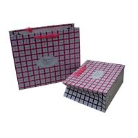 Pink Square Ribbon Handle  cutomized Paper Carrier Bag for Gift Packing Matt Coated