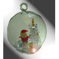Buy cheap Clear Christmas Ball With Santa Claus , Hand Blown Glass Christmas Ornaments product