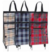 Buy cheap Iron Pipe Stucture Plaid PP Nylon Portable Shopping Trolley Bag BHT-101 product