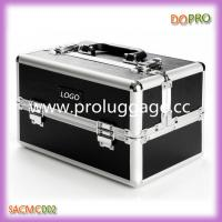 Buy cheap Black Matte PU Leather Makeup Case Cheap Aluminum Beauty Cosmetic Case (SACMC002) product