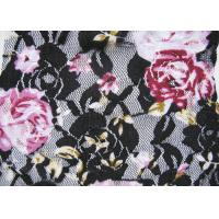 Buy cheap Flower Black / White Digital Printed Stretchy Lace Fabric Or Wedding Dresses product