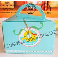 Buy cheap Cardboard Paper Lunch / Cake Food Packing Boxes With Handles Triangle Shape product