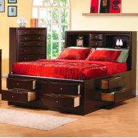 China Phoenix Contemporary Bedroom Furniture Queen Bookcase Bed With Underbed Storage Drawers on sale