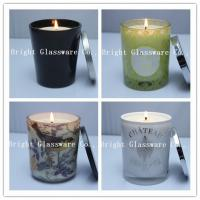 Buy cheap Solid Black Glass Candle Holder , Candle Jar With Lid Cover product