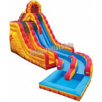 Buy cheap 20 Feet Big Yellow / Blue Fire & Ice Wet Dry Inflatable Water Slide For Water Park from wholesalers