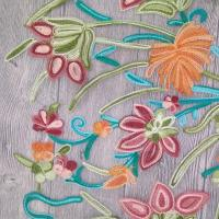 Buy cheap Polyester Wide Jacquard Embroidered Mesh Lace Fabric By The Yard With Colored 3D Flower product