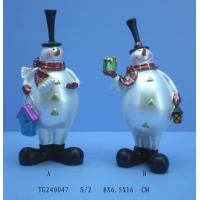 China Modern Unique Pearl White Polyresin Figurine , Christmas Snowman Figurines on sale