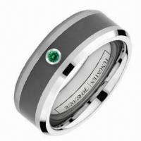 Buy cheap Inlay Green 1CZ and Black Ceramic Ring/China Fashion Jewelry with High Polish Surface Finish product