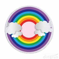 Quality Soft and Quick Dry Rainbow Printed Round Beach Towel Multi Functional Pool Mat for sale
