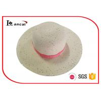 Buy cheap Sequined Ladies Crushable Wide Brimmed Straw Hat With Pink Bowknot Ribbed Band product