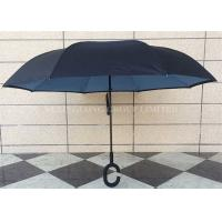 Dual Layer Waterproof Reverse Folding Umbrella That Folds Upwards Fiberglass Ribs