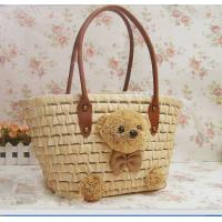 Buy cheap Discount designer handbags natural straw bag with teddy bear 80248 product