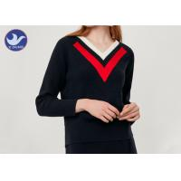 Buy cheap Stripes V Neck Womens Knit Pullover Sweater Rib Knitting Wool product