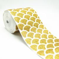 Buy cheap 75mm eng glitter dusting gold fish scale grosgrain ribbon glittering from wholesalers