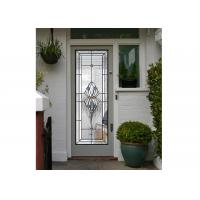 Buy cheap Polished Wrought Iron Glass Double Entry Doors Firm Type Iron Mosaic Glass Thickness 30Mm product