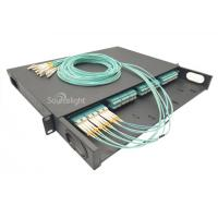 Buy cheap 96 Cores Black Rack Mounted Mtp / Mpo Fiber Patch Panel With 4pcs Of Mpo Cassette product