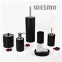 China Personalized 6 Piece Black Color Wood Complete Bathroom Set and Accessories on sale