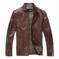 Buy cheap Brown Leather Jacket/Coat, Customized Cheap Classic, Long Sleeve Stylish Dark  product
