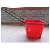 Buy cheap Stackable Plastic Shopping Basket With Wheels For Grocery / Supermarket SGS from Wholesalers