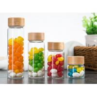 Buy cheap 500ml Glass Storage Jars With Wood Lid / Transparent Glass Candy Jars In Bulk product