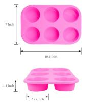 Buy cheap 2 Pack Silicone round Muffin Pan, 6 Cup Baking Tin Non-Stick Bakeware mold for Cupcakes Puddings product