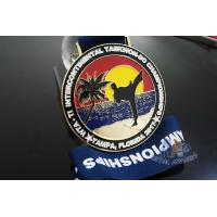 Buy cheap Taekwondo Round Custom Race Medals Sandblast Effect With Gold Plating product